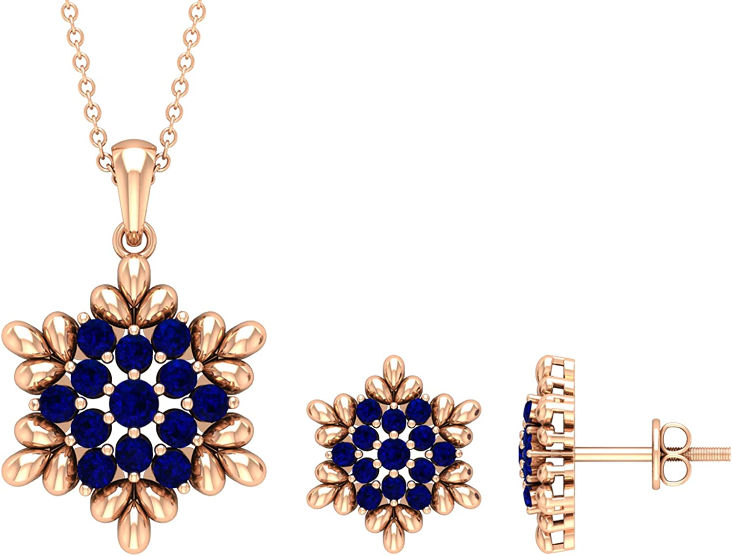 September Birthstone - 1.25 CT Blue Sapphire and Gold Flower Jewelry Set (AAA Quality), 14K Solid Gold, With Chain