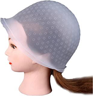 Hair Coloring Dye Cap Kit, Inkach Professional Salon Reusable Hair Colouring Highlighting Dye Cap Hat Hook Frosting Tipping (Clear)
