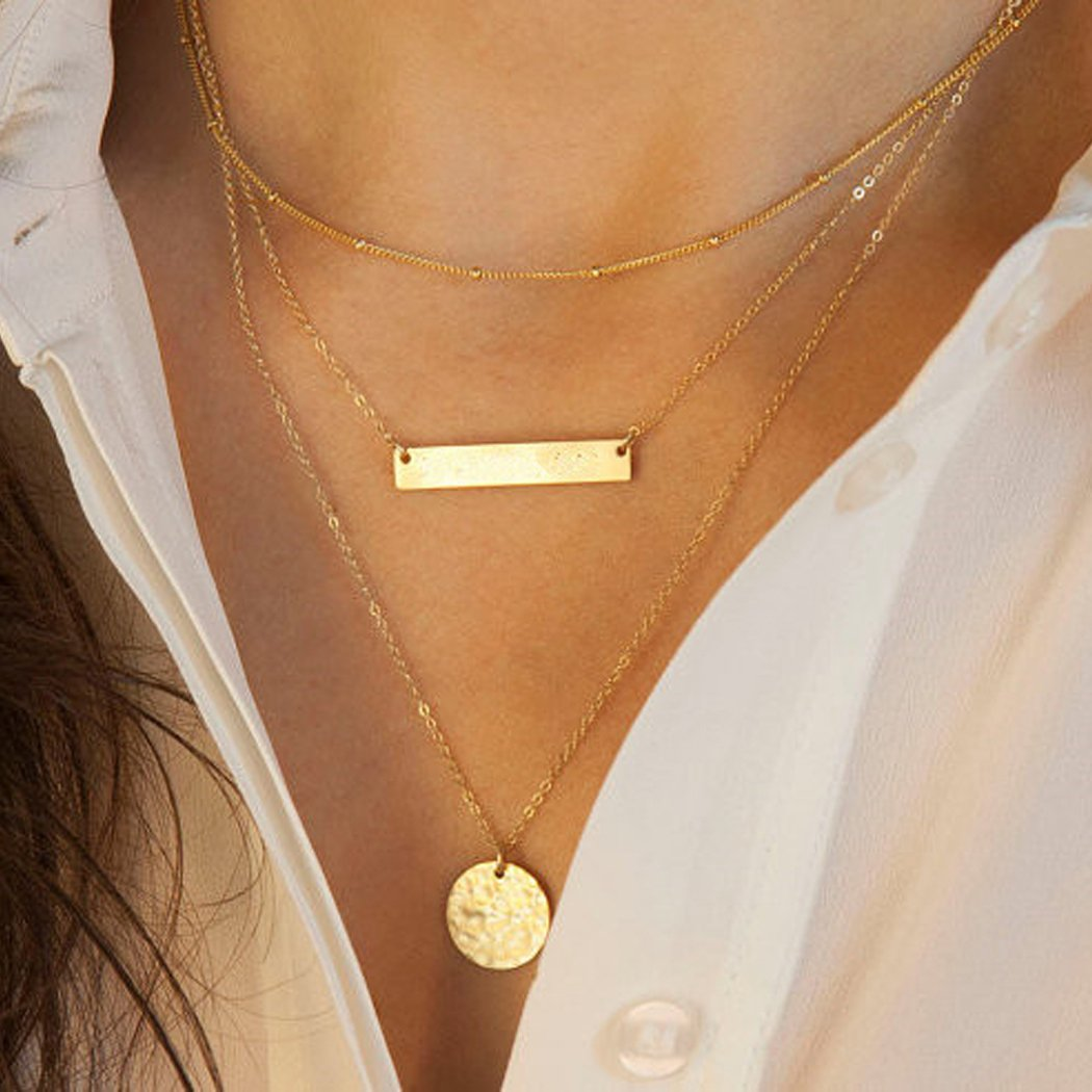 Yfe Gold Hammered Coin Necklace Jewelry Bar Layered Necklaces for Women and Girls Strand Layer Necklace Gold (Gold sidesway bar)