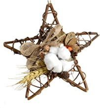 Ying Ying Chic YYC 1Pcs Natural Star Shaped Pinecone Cotton Hanging Wreath Wall Decor Hemp Rope Home Decor (Style 2)