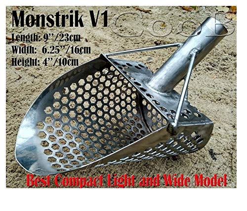 CooB Beach Sand Scoop Shovel Metal Detector, Sand Scoops Treasure Detecting, Metal Detector Hunting Stainless Steel Tool, Hexahedron Holes (Monstrik V1)