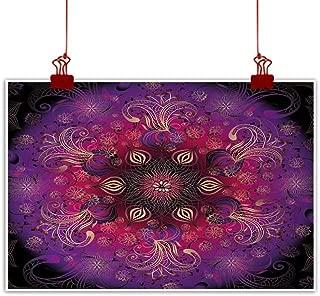 Sunset glow Wall Art Painting Print Purple Mandala,Filigree Retro Floral Authentic Oriental Persian Culture Motif,Fuchsia Hot Pink Maroon 28