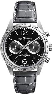 Vintage Grey Leather Strap Men's Watch BRV126-BS-ST/SCR2