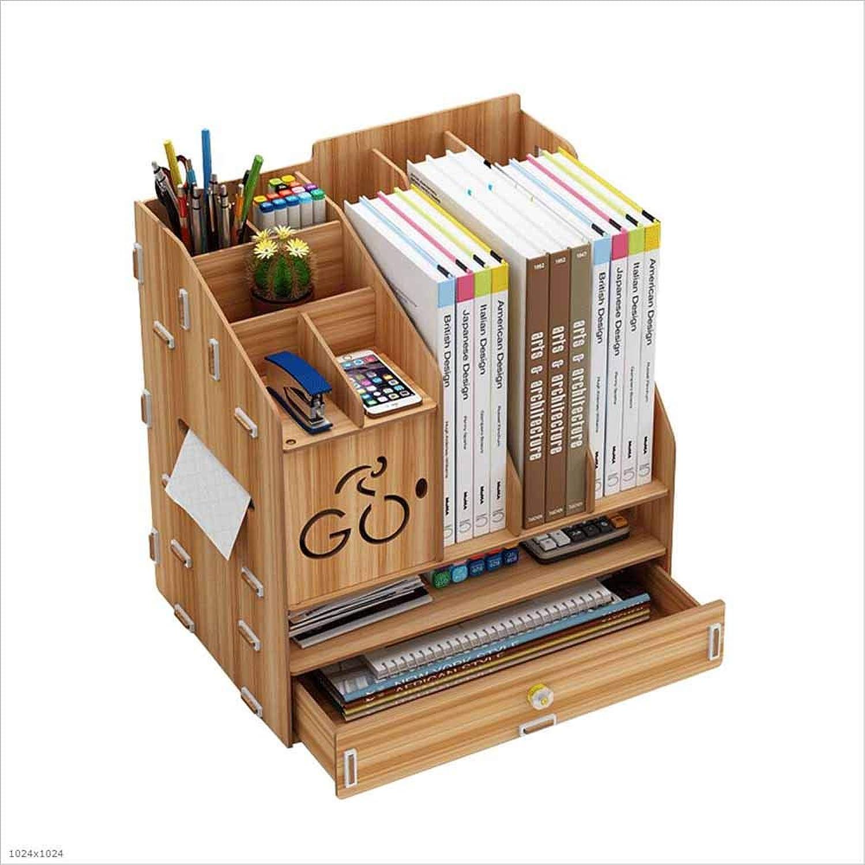 Wooden Desktop File Rack Multifunctional Office Supplies Book Lockers,A
