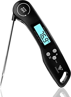 DOQAUS Digital Meat Thermometer, 3S Instant Read Food Thermometer for Cooking, Digital Kitchen Thermometer Probe with Backlight & Ambidextrous Display, Cooking Thermometer for Candy Grill BBQ Liquids