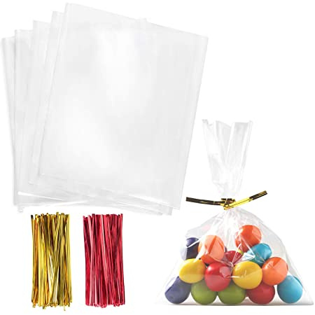 400x SHINY TWIST TIES Kids Arts Crafts Cellophane Sweet Bag Cone Gift Wrapping
