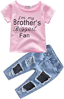 Fairy Baby Toddler Girls Summer Tops T-Shirt and Hole Denim Pant Set Kid Outfit Clothes Set