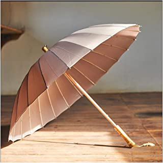 SUP-MANg Retro 24 Bone Straight Shank Long Umbrella Parasol (Color : Gray)