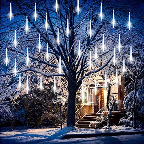 FANSIR Meteor Lights 360 LED Falling Snowfall Lights Meteors Shower Rain Lights 50cm 10 Tubes Cascading Light for Christmas Tree Wedding Party Garden Home Decoration [Energy Class A++] (Cool White)