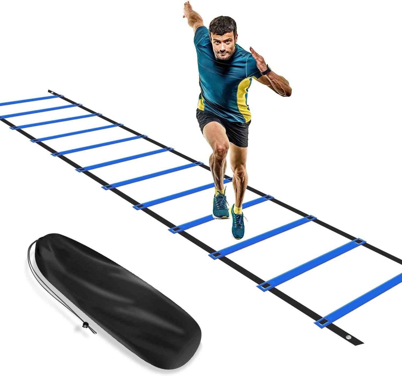 KIKILIVE Escalera de Agilidad, Escalera de coordinación para Entrenamiento de fútbol, Escalera de Entrenamiento de 6 m, fútbol de Agilidad, con Bolsillo, Color Azul y Amarillo