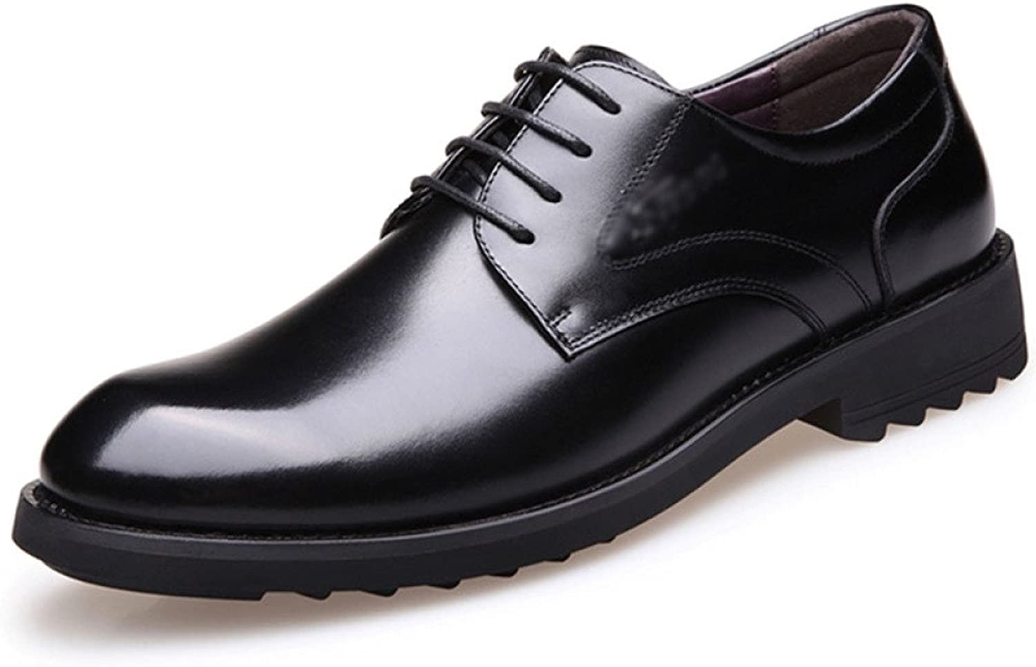 ZHMIAO Leather shoes For Men's Mens Spring And Autumn Business Formal Wear Leather shoes Flat With Lace-ups Low Help Derby shoes