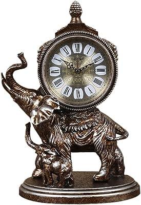 Edge to Relojes de escritorio European Tomboy Clock Vintage Elephant Quartz Clock Reloj de resina de