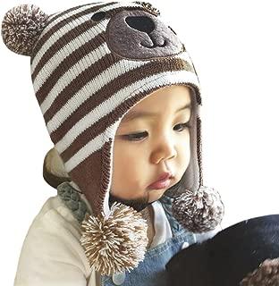 Baby Kids Winter Hat Cute Crochet Knit Fleece Cap Warm Earmuff Skiing Cap with Ear Flap for Girls Boys 1-4Yr