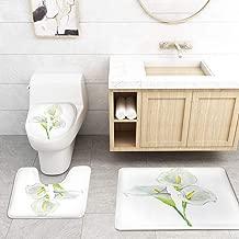 Bathroom Rug Mats Toilet lid Toilet Bath Mat WC Lavatory Rugs Bouquet Calla Lily Wedding Invitations,3 Piece Set
