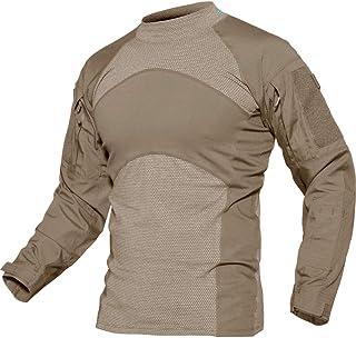 TACVASEN Men's Slim Fit Combat Rapid Assault Shirt Tactical Airsoft Camo Long Sleeve Shirts