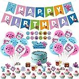 Accesorios para fiesta de cumpleaños de Blues Clues, decoración de fiestas, juego con blues Clues Happy Birthday Banner Pastel Cupcake Toppers Globos adhesivos para niñas niños