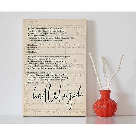 Hallelujah Script Heart Quote Song Lyric Print