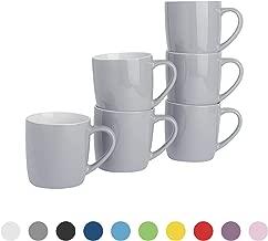 Argon Tableware Tea Coffee Mugs - 6pc Contemporary Coloured Ceramic Cups (Grey)