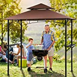 Grill Gazebo for Patios Outdoor, Double Tiered 8 Ft.W x 5 Ft.D BBQ Patio Canopy Tent, UV Resistant Shelter Steel Frame with Two Bar Counters and Cooking Tools Hookers for Patio and Backyard -Brown