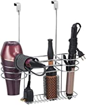 mDesign Metal Bathroom Over Cabinet Door Hair Care & Styling Tool Organizer Holder, Vanity Storage for Hair Dryer, Flat Irons, Curling Wands, Hair Straighteners - 3 Sections, Heat Safe - Chrome