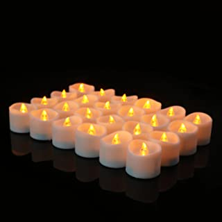 Maxwelly 24 PCS Flameless Candle Lights with 1 Pack Artificial Rose Petals, Battery Powered Tea Light Candles, Natural Flickering Bright Tealights, Batteries Included, Remote Control