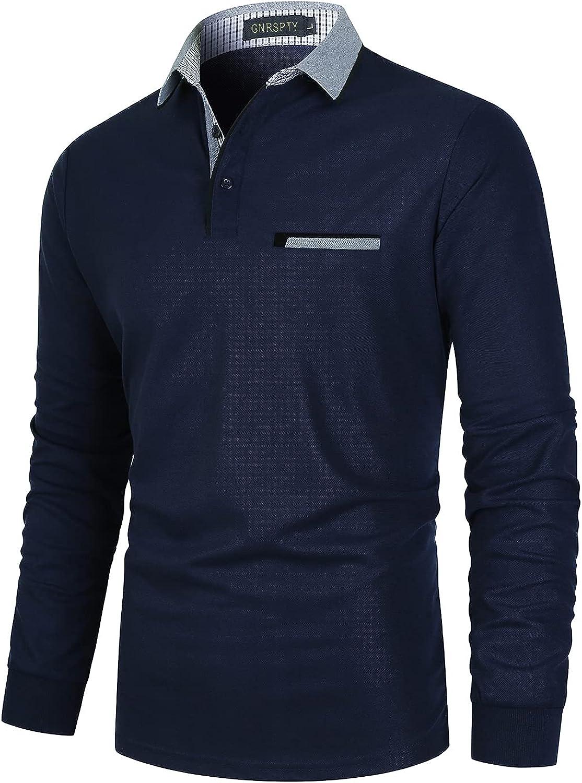 GNRSPTY Casual Polo Manga Larga Hombre Algodón Camiseta Cuello de Color Contraste Negocios Golf T-Shirt