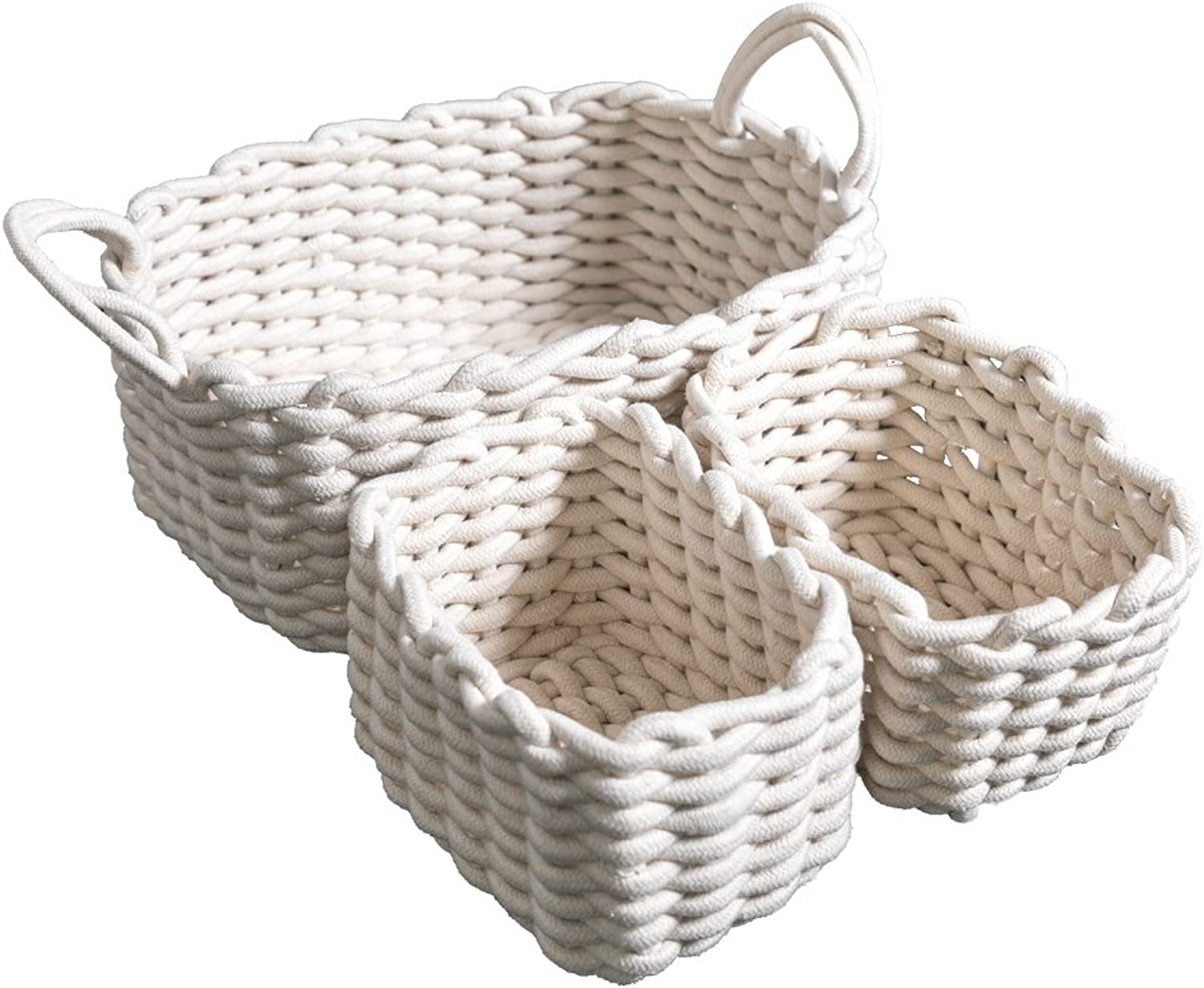 Cutieunion Cotton Woven Storage Baskets with Dual Rope Handles for Toy Storage Durable Nursery Bins(3 Pack,White)