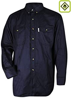 Magid Glove & Safety SH107-NV-S Magid SH107 Dual-Hazard 7.5 oz. FR 100% Cotton Twill Work Shirt, 2XL, Navy, Small