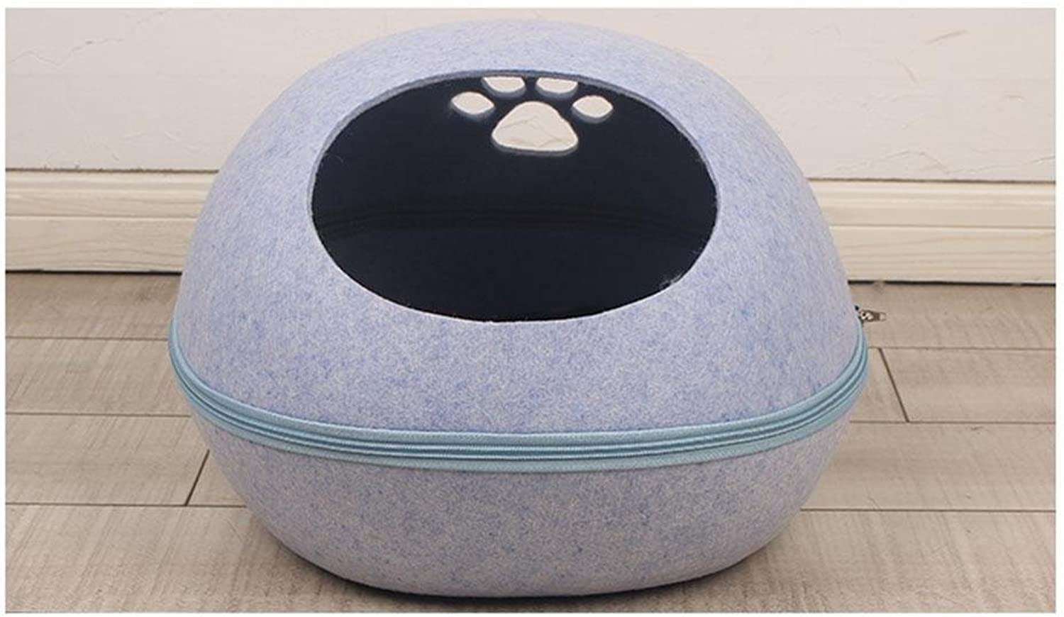 Cat Kennel, Pet Cave Dog Puppy Cat Kennel House Bed, Nature Egg Shape W20, bluee