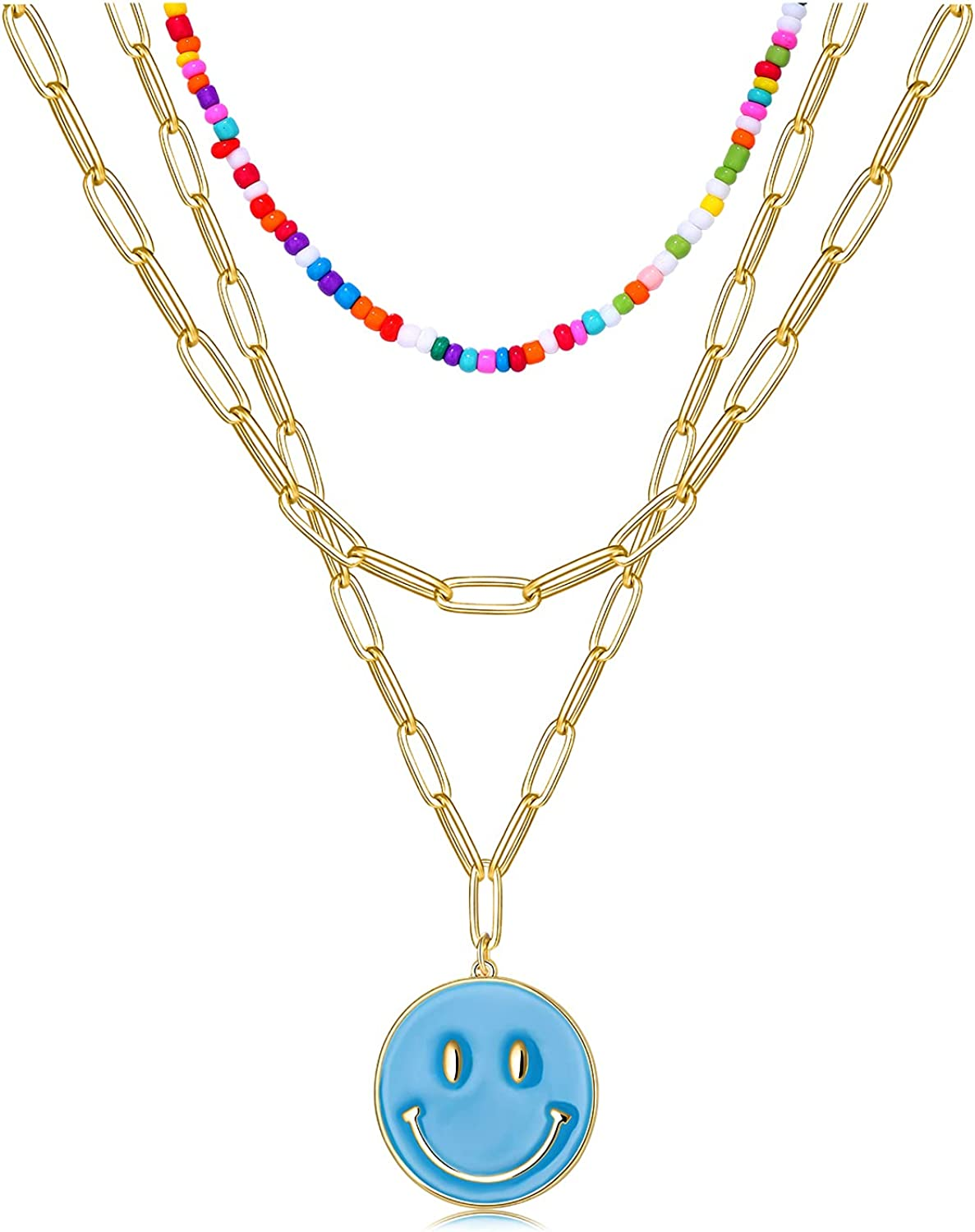 NLCAC 14K Gold Layered Beaded Necklaces for Women-Detachable Colorful Beaded Choker Dainty Paperclip Chain Smiley Face Pendant Necklace Y2k Jewelry