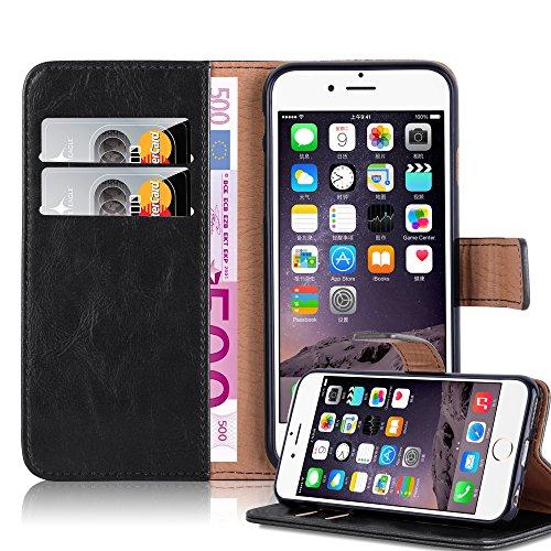Preisvergleich Produktbild Cadorabo Hülle für Apple iPhone 6 Plus / iPhone 6S Plus in Graphit SCHWARZ Handyhülle mit Magnetverschluss,  Standfunktion und Kartenfach Case Cover Schutzhülle Etui Tasche Book Klapp Style
