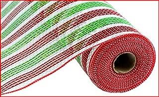Craig Bachman 10 Inch x 30 Feet Deco Poly Mesh Ribbon - Red Lime Green White Stripe