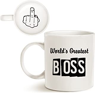 MAUAG Funny Best Boss Office Coffee Mug for Bosses Day, World's Greatest Boss Unique Present Idea for Boss Manager Cup White, 11 Oz