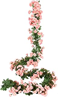 Miracliy 2PCS 69 Heads Fake Rose Vine Flowers Plants Artificial Flower Hanging Rose Wedding Party Garden Craft Art Décor, ...