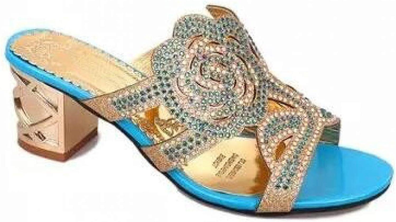 Slide Sandal for Women Peep Toe Mid Heel Crystal Casual Antiskid Summer Ladies shoes