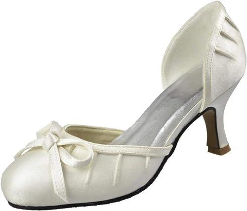 ZHRUI Filles Femmes Rondes Rondes Noeud Noeud Satin Fete De Mariage De Bal Pompes Chaussures (Couleuré   Ivory-6.5cm Heel, Taille   5.5 UK)  100% livraison gratuite