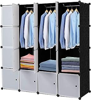 Sebastianee Armoire Portable DIY, Plastique Penderie, 16 Cubes de Rangement pour Vêtements, Chaussures, Accessoires, blan...