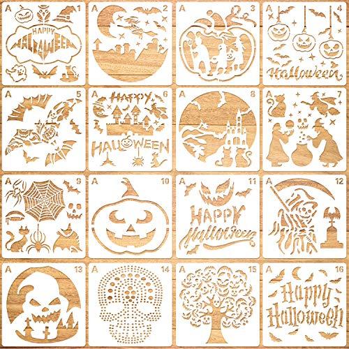 Qpout 16Pack Plantillas de Pintura de Halloween,Reutilizables Plantillas de Manualidades de Bricolaje de Pintura Plástica para Pulverización, Ventana, álbum de Recortes, Decoración de Galletas