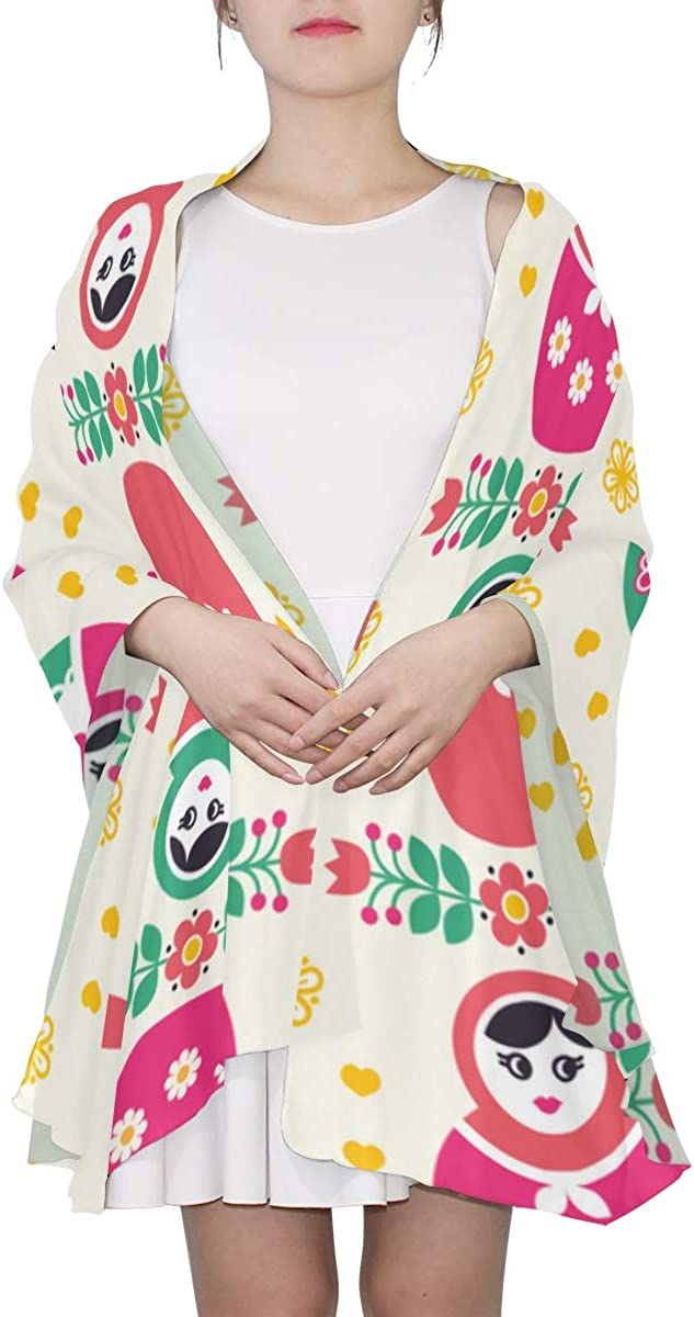 Matreshka Traditional Russian Doll Unique Fashion Scarf For Women Lightweight Fashion Fall Winter Print Scarves Shawl Wraps Gifts For Early Spring