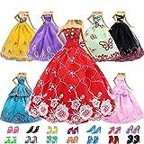 ZITA ELEMENT 15 Piezas Ropa Muñeca Hecha A Mano para 11,5 Pulgadas Doll Vestido de Novia Vestido de Novia Vestido de Noche 5pcs Vestidos de Fiesta con 10pcs Zapatos de Chicas