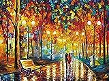 Puzzle de 1000 Piezas para Adultos,Juego de Rompecabezas, Ilustraciones para Adultos, Adolescentes, Rompecabezas de Piso de Impresión de Alta Definición (Rainy Night Walk, 75 x 50 cm)