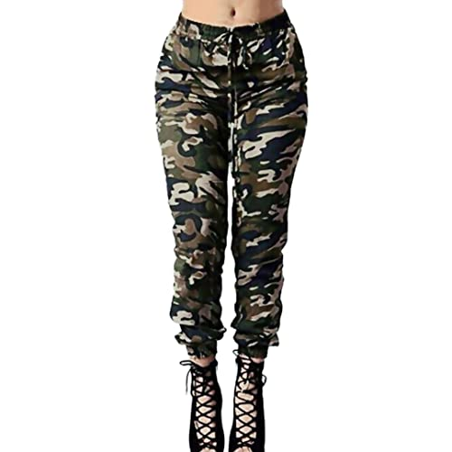 20f9255b7bd57 YUAN Women's Plus Size Camouflage Jeans Trousers, Ladies Casual High Waist  Loose Army Green Drawstring