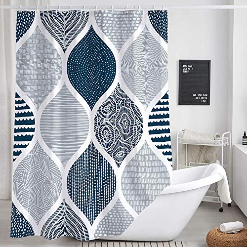 Blue and Grey Shower Curtain for Bathroom, Light Blue White Dark Gray Navy Boho Chic Geometric Pattern Fabric Shower Curtains Set, Modern Paisley Restroom Decor Accessories with Hooks 72X72Inches