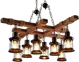 LAKIQ 8-Light Farmhouse Pendant Chandelier Farmhouse Wooden Hanging Island Lighting Fixture Retro Industrial for Kitchen Dining Room Bar Restaurant
