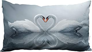 Yeuss Pillow Case Cover Two Swans Set A Heart-Shaped Pattern On The Lake Swan Home Chair Couch Decor Oblong Long 12X20 Inches