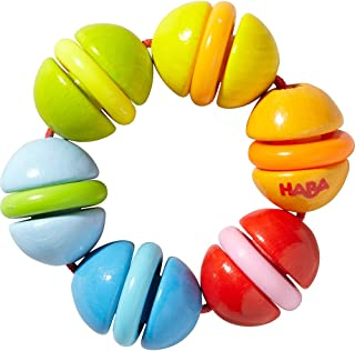 HABA Clatterit Wooden Clutching Toy with Plastic Rings (Made in Germany)