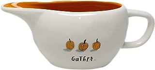 Rae Dunn By Magenta GATHER. Ceramic Script Pumpkin Icon Gravy Boat With Orange Interior