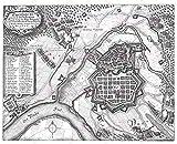 MAP Antique Military MERIAN 1639 HANAU Siege Large Replica