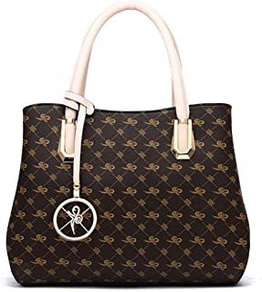 Shoulder Bag Women Shoulder Handbag Elegant Design Top Handle Fashion Handbags Handbag Clutch (Color : Beige, Size : Lattice)