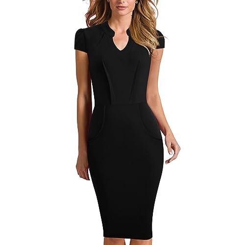 993424361c HOMEYEE Women's Elegant Cap Sleeve Kneelength Bodycon Wear to Work Formal  Wedding Guest Dress B380